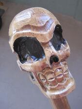 Hand Carved Wood Skeleton Skull Walking Stick 62 In.