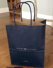 """1-Authentic Tommy Hilfiger 10.5"""" Carrier Paper Raffia Handle Gift Bag New!"""