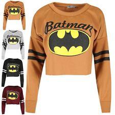 Womens Batman Raw Edge Sweatshirt Ladies Sporty Stripe Baggy Oversized Crop Top