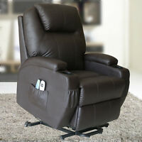Electric Power Recliner Lift Chair Vibration Massage Heated Sofa Lounge Brown