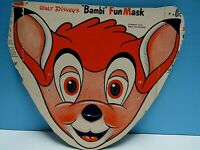 "VINTAGE 1940-50's HALLOWEEN ""BAMIBI""  CARDBOARD CUT-OUT MASK - DISNEY EX. COND."