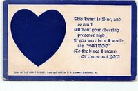 Sign Of The Heart Series Blue PMC UDB Postcard Vtg 1906 Unposted Romantic Poem