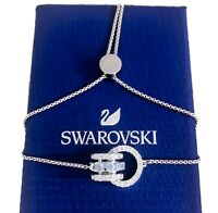 New SWAROVSKI Blue Crystal Infinity Further Rhodium Slide Chain Bracelet 5537123
