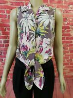 Tommy Bahama Silk Floral Buttoned Tie Front Women's Multicolor Top Blouse Size M