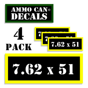 """7.62 X 51 Ammo Can Labels Ammunition Case 3""""x1.15"""" stickers decals 4 pack BLYW"""