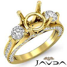 Round Diamond Engagement Unique Three Stone Ring 18k Yellow Gold Semi Mount 1.3C