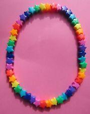 Kitsch Opaque Rainbow Plastic Star Bead Elastic Necklace Retro Pride Hope