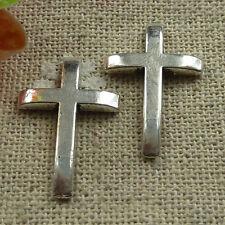 160pcs tibetan silver cross Flatback stick no hole 21x14mm#1365