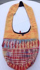 Boho Hippy Hobo Tote Bag Purse Cloth Yellow Orange Blues Tye Dye Slits
