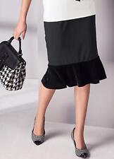 Falda Jersey con terciopelo negro peplum tamaños de largo hasta la rodilla 12 y 14 Nuevo