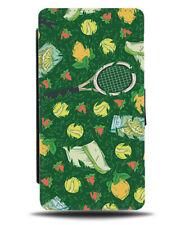 Summer Tennis Flip Wallet Case Rackets Ball Fake Grass Print Outdoor Sports F683
