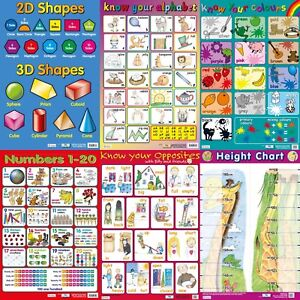 Early Learning Wallcharts / Height Chart / Numbers / Alphabet / - A2 Size