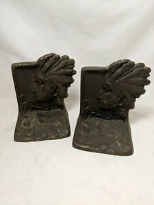 Vintage Antique Cast Iron Indian Naive American Bookends Circa 1930's