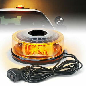 14 Mode Amber/Yellow Round LED Strobe Light Rooftop Rotating Flash Beacon