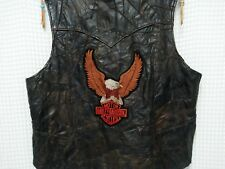 vtg 70s Leather Biker Vest Harley Davidson patches pins custom 80s Ghost Riders