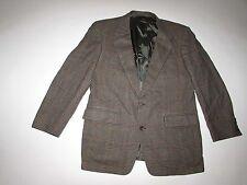 Bespoke Prestige Clothes Men's 100% Cashmere Blazer 44R Glen Plaid Brown Jacket