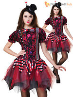 Ladies Evil Clown Jester Halloween Fancy Dress Costume Horror Zombie Women Scary