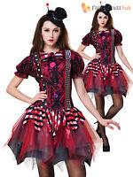 Ladies Evil Clown Jester Halloween Fancy Dress Costume Horror Zombie Women Scary