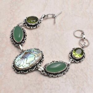 Abalone shell Peridot Ethnic Handmade Bracelet Jewelry 22 Gms AB 80014