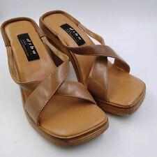 Diba Magnus Womens Brown Leather Classy Wooden Sole Platform Heel Size 8B