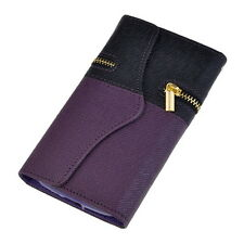 Foxlux PU Leather Zipper Wallet Card Flip Case for Samsung Galaxy S4 I9500