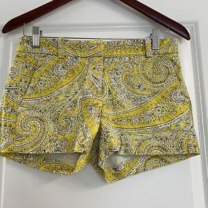 JCREW Yellow Paisley Textured Cotton Shorts Size 0