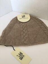 MAX STUDIO One Size Women's 100% Cashmere Tan Cable Knit Winter Hat/Beanie NWT