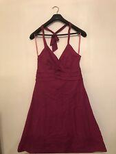 Monsoon Ladies Burgundy Sleeveless  Halterneck Dress. Size UK 12. 100% Cotton.