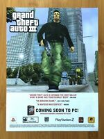 Grand Theft Auto III 3 GTA PS2 2003 Vintage Print Ad/Poster Official Promo Art