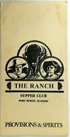 1980's Original menu THE RANCH Supper Club Restaurant Port Byron Illinois