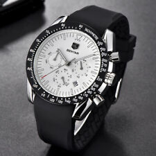 45mm BENYAR white dial date Military sport rubber Chronograph Quartz mens watch