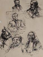 C1960 Originale Disegno Schizzo Personaggio Studio Vari - John Pudney