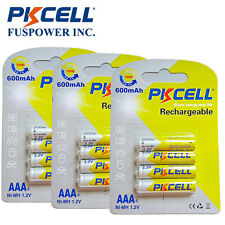 12x Triple A NIMH Rechargeable Battery 1.2V AAA 600mAh 1.2Volt 1000Cycles PKCELL