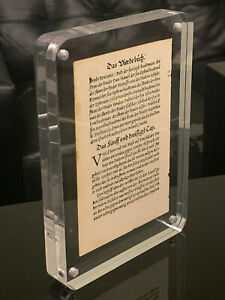 RAREST ANCIENT FIRST EDITION FIRST PRINTING - MARTIN LUTHER 1523 BIBLE LEAF PAGE