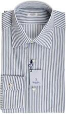 Barba Napoli Dress Shirt Cotton 15 1/2 39 Blue Green Stripe 11SH0191 $325