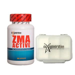 ZMA Zinc Magnesium Vitamin B6 60 Capsules & 1 x Small Pill Box – Clear