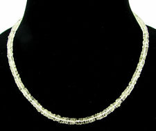 92 Ct Natural Crystal Quartz Tyre Heishi Rondelle Beads Necklace String - B158