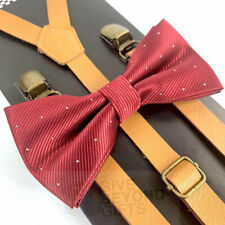 Suspender and Bow Tie Adult Skinny Leather Fancy Burgundy Formal Wear Accessory