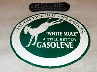 "VINTAGE WHITE MULE GAS ALL THE KICK NO KNOCKS 11 3/4"" METAL GASOLINE & OIL SIGN!"