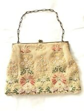 Beautiful Seed Pearl Embroidered Purse - Multicolor floral design