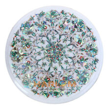 10'' White Marble Center Table Top Paua Shell Floral Inlay Bedroom Decors W230
