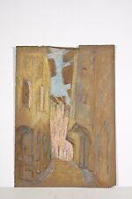 Dessin Original n.s Pastel Marguerite DUBOIS XX° Ruelle village de Roez Rodez ?