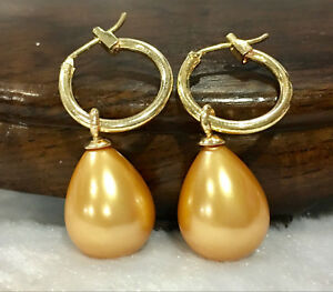 Pretty 15 Colors 12x16mm South Sea Drop Shell Pearl Dangle Leverback Earrings