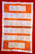 HANDMADE BABY QUILT /EMBROIDERED ORANGE LOVERS ABC  30 X 47