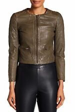 NWT $465 MUUBAA ZOMSA QUILTED MINIMALIST OLIVE LEATHER BIKER JACKET US 6 S UK 10