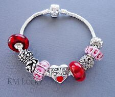 European Style Charm Bracelet Red Lampwork Glass Beads Together Forever heart S3
