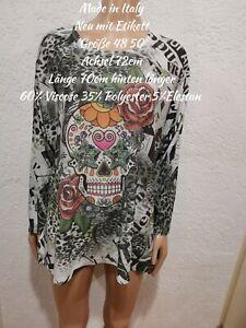 Made In Italy Bunter Totenkopf Glitzer Pullover Dünn Größe 48 50 Einheitsgröße