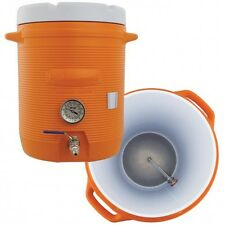 TEN GALLON COOLER Mash Tun with False Bottom THERMOMETER AND VALVE HOMEBREWING