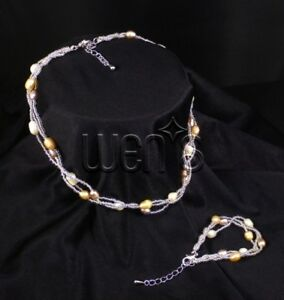 Girls White Silvery Purple Peach Freshwater Pearl Necklace and Bracelet Set