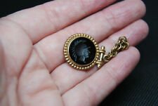 Vintage Antique Victorian Carved Intaglio Onyx Carnelian Watch Fob Charm Roman